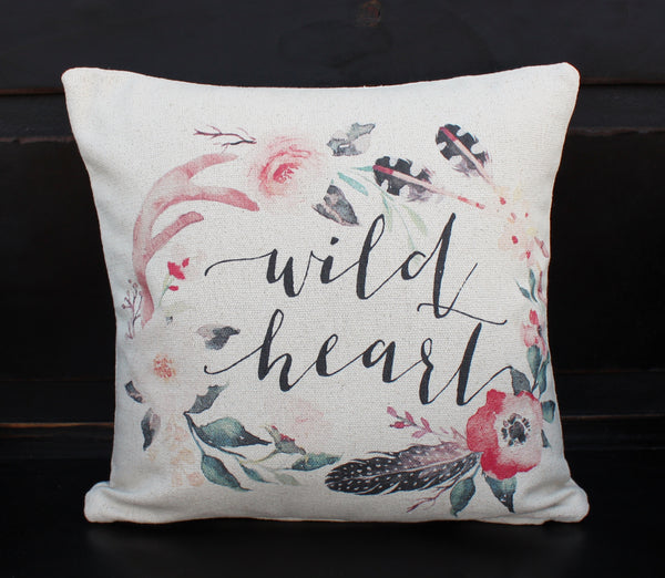 Wild Heart Floral Pillow