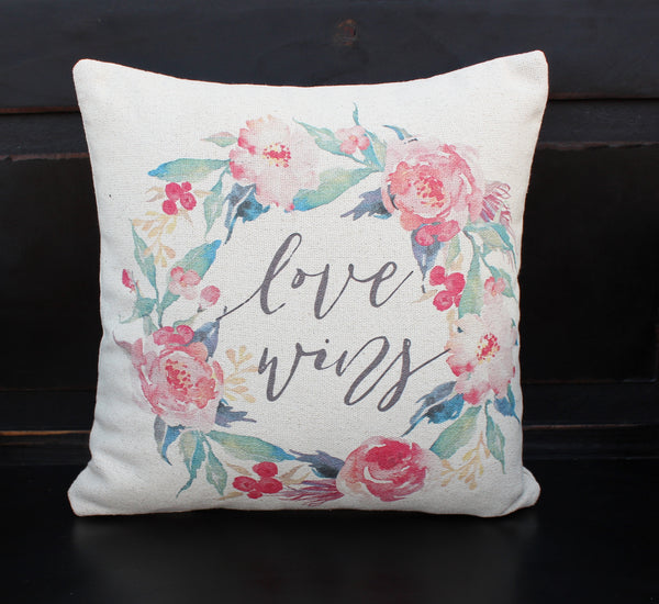 Love Wins Floral Pillow