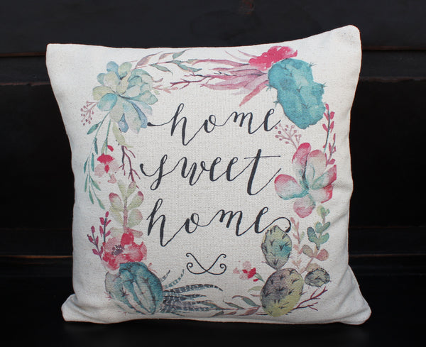 Home Sweet Home Floral Pillow