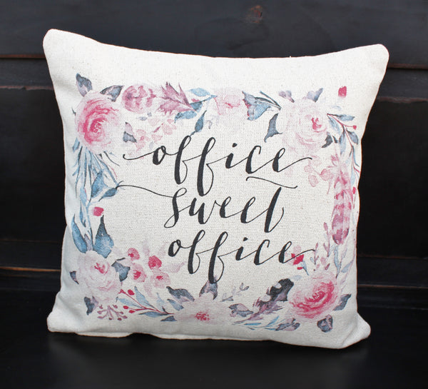 Office Sweet Office Floral Pillow