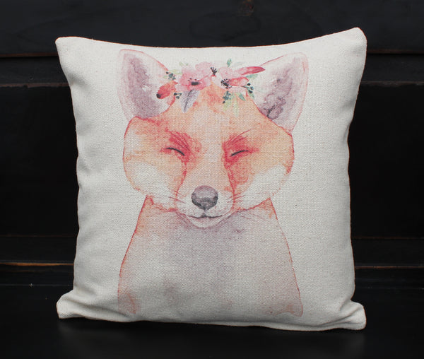 Fox Floral Pillow
