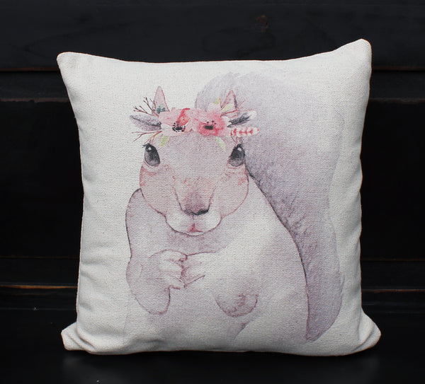 Squirrel Floral Pillow