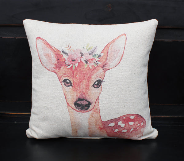 Deer Floral Pillow