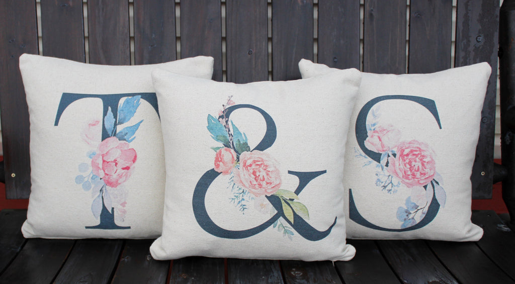 Monogrammed Set of 3 Pillows