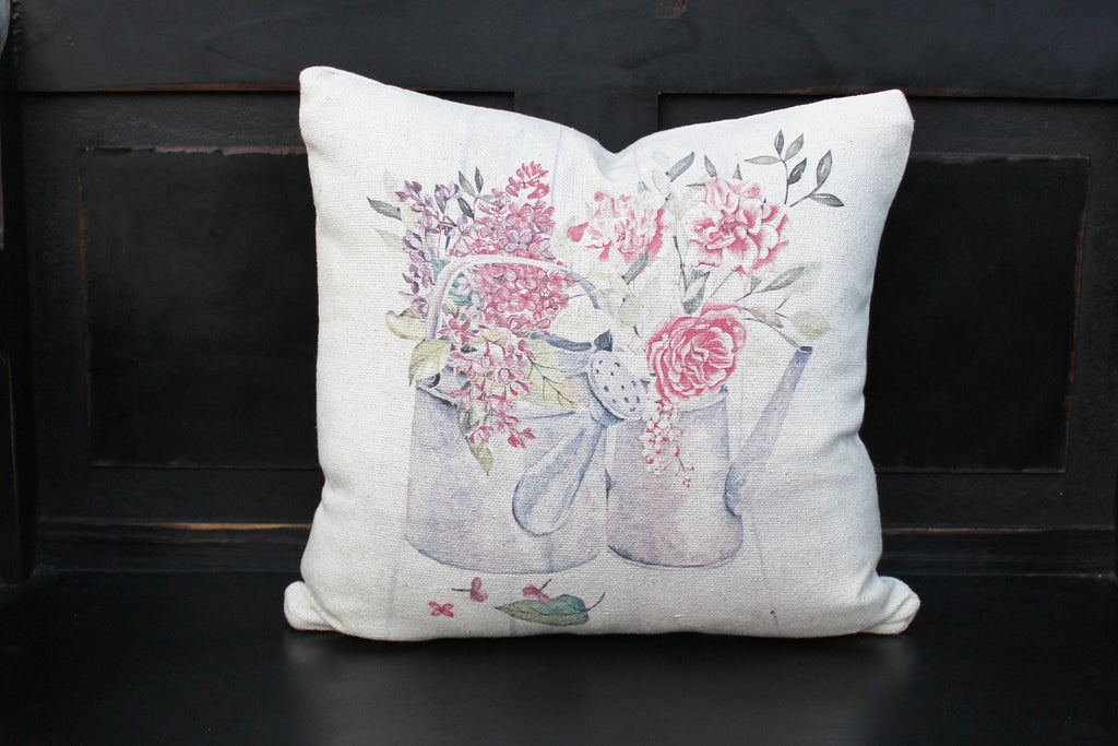 Watering Can of Flowers Pillow