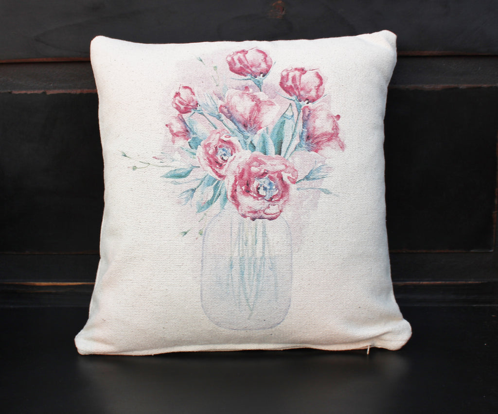 Mason Jar of Flowers Pillow