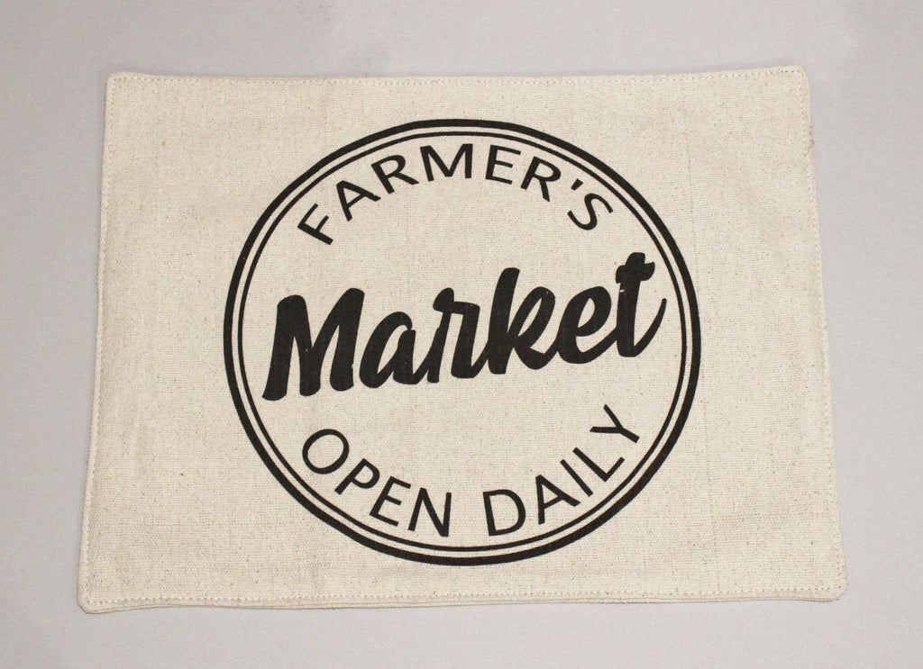 Open Daily Farmer's Market Feed Sack Placemats Set of 4