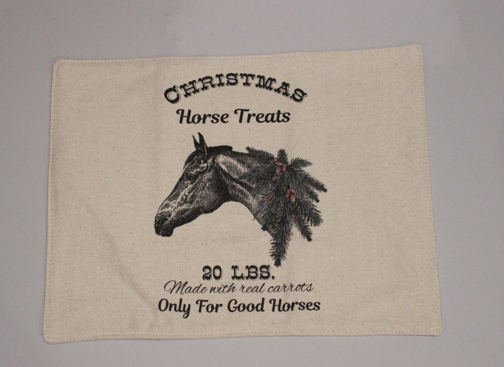 Christmas Horse Feed Sack Placemats Set of 4