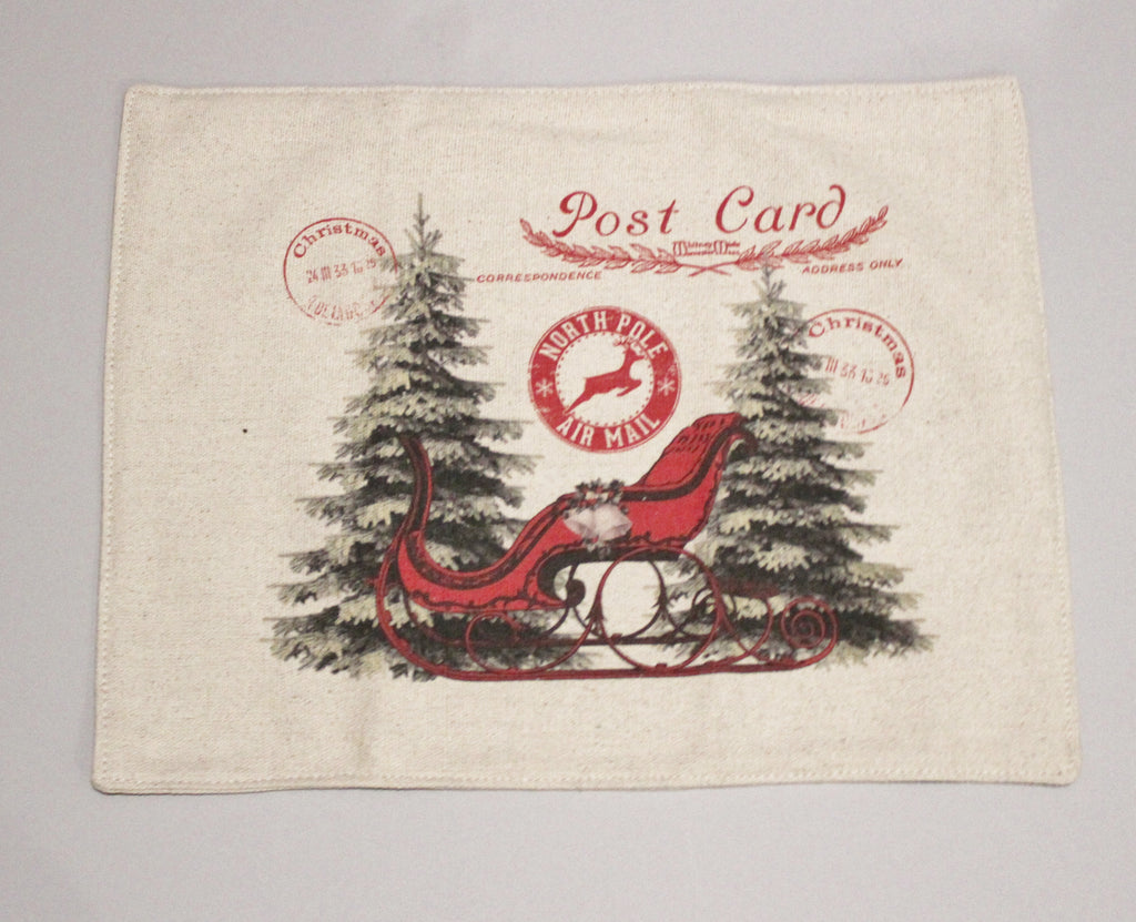 Sleigh Postcard Feed Sack Placemats Set of 4