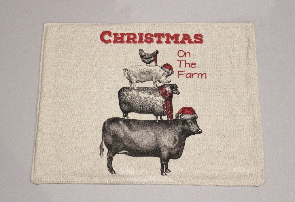 Stacked Animals Christmas Feed Sack Placemats Set of 4