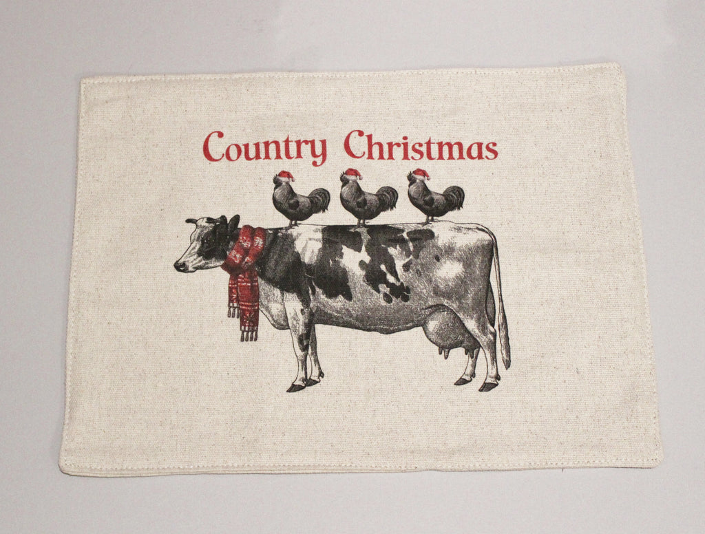 Country Christmas Feed Sack Placemats Set of 4