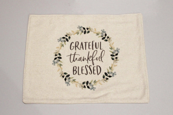 Grateful Thankful Blessed Feed Sack Placemats Set of 4