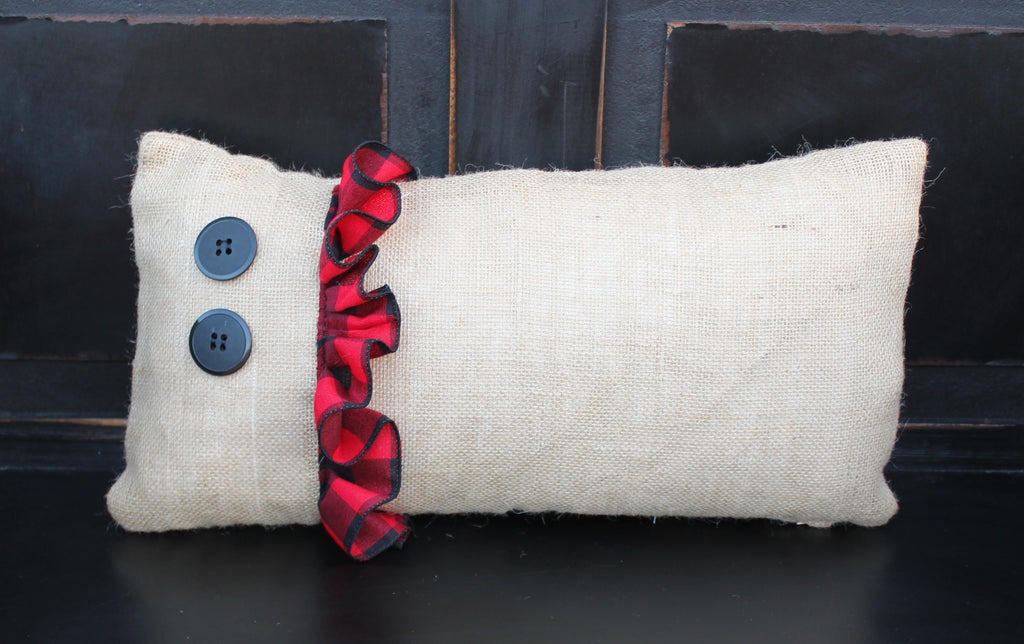 Burlap Pillow With Ruffle and Button
