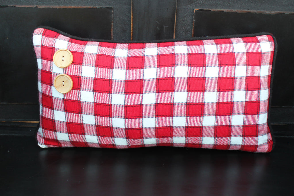 Red and White Plaid with Buttons
