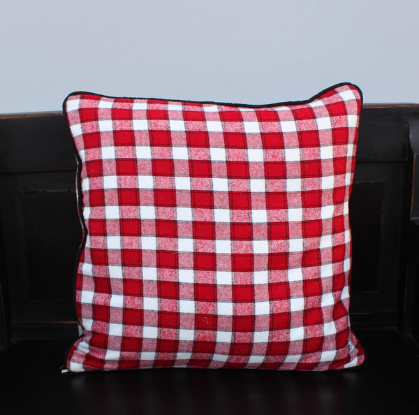 Red and White Plaid Pillow