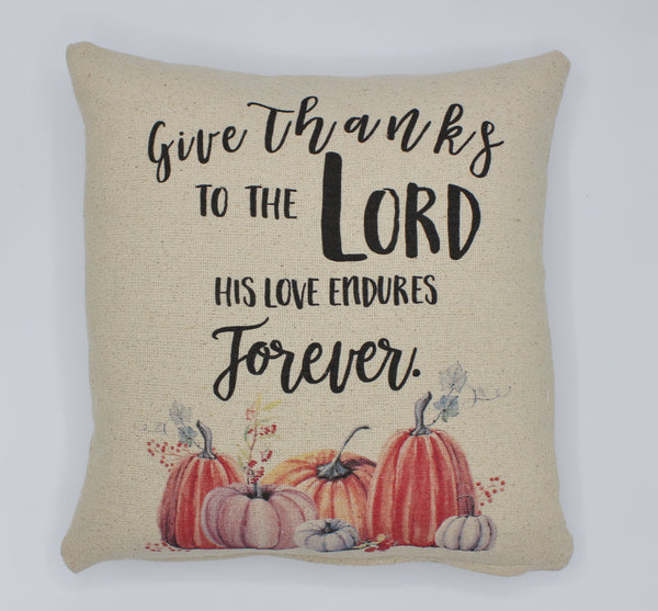 Give Thanks Pumpkin Pillow
