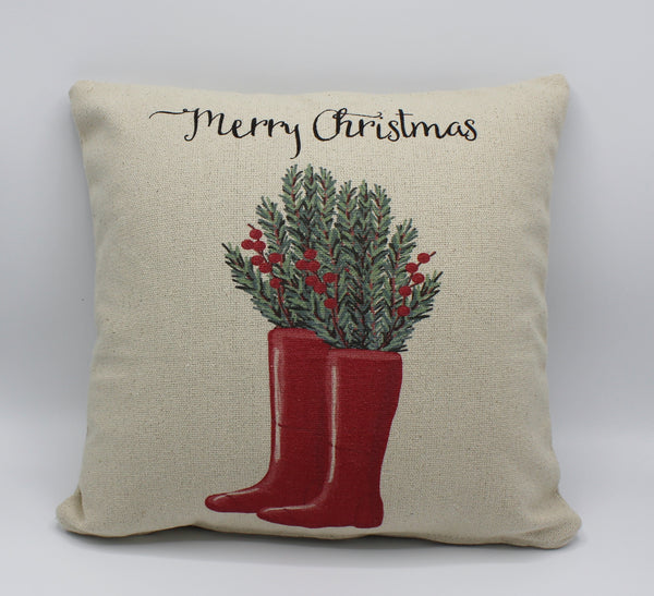 Christmas Rainboots Pillow