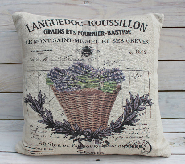 Lavender Basket Bee Pillow
