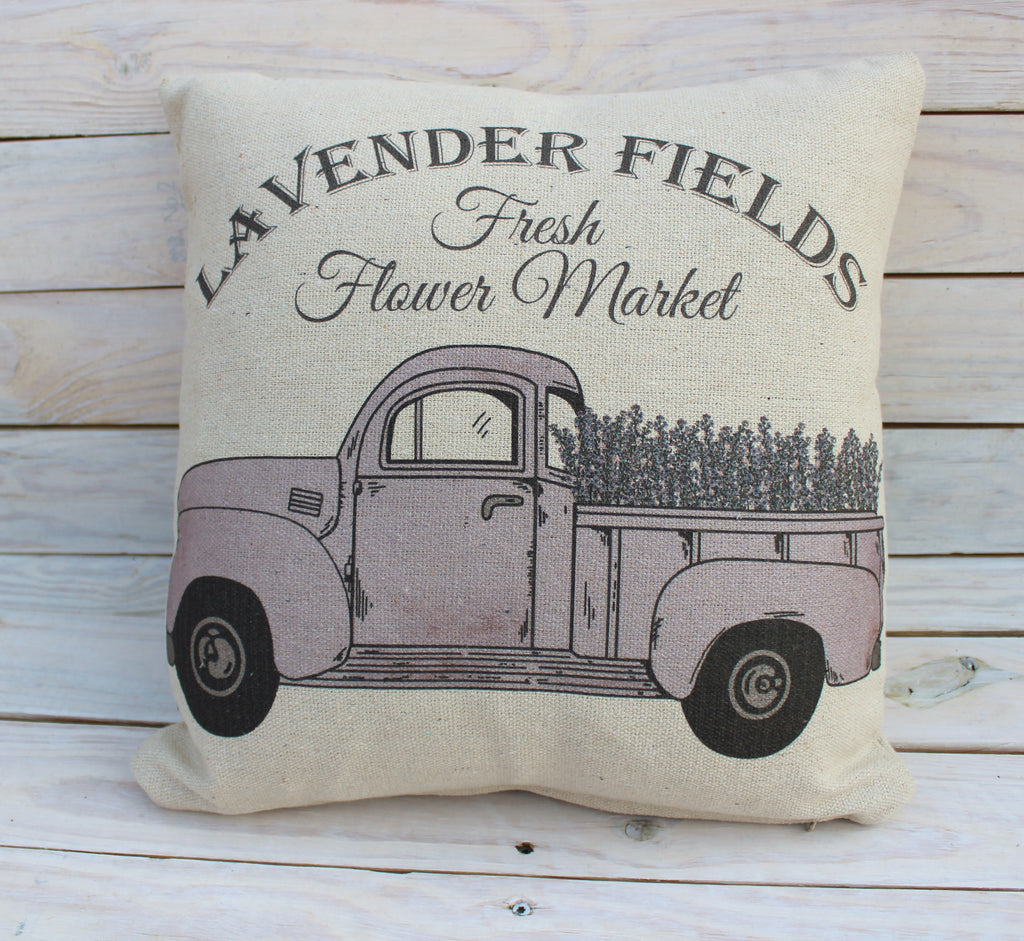 Lavender Truck Pillow