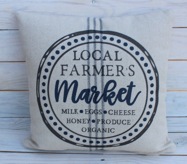 Local Farmer's Market's Pillow Blue 16x16
