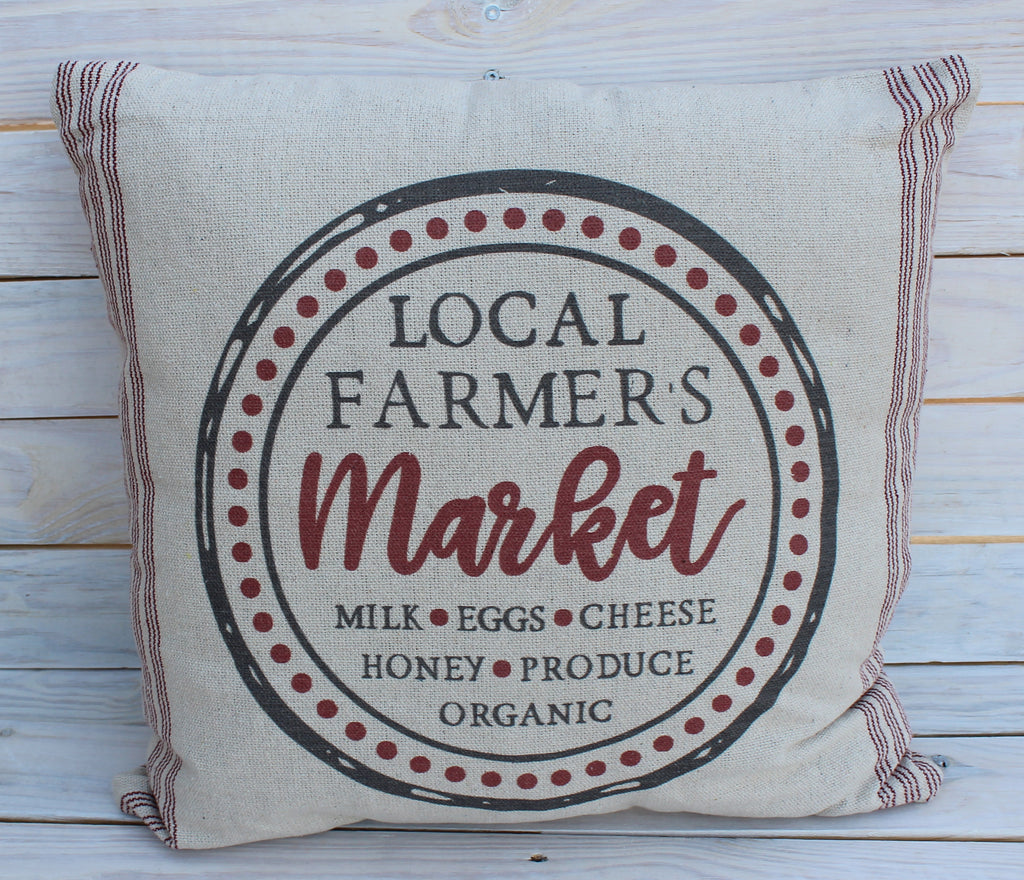 Local Farmer's Market's Pillow Red 20x20