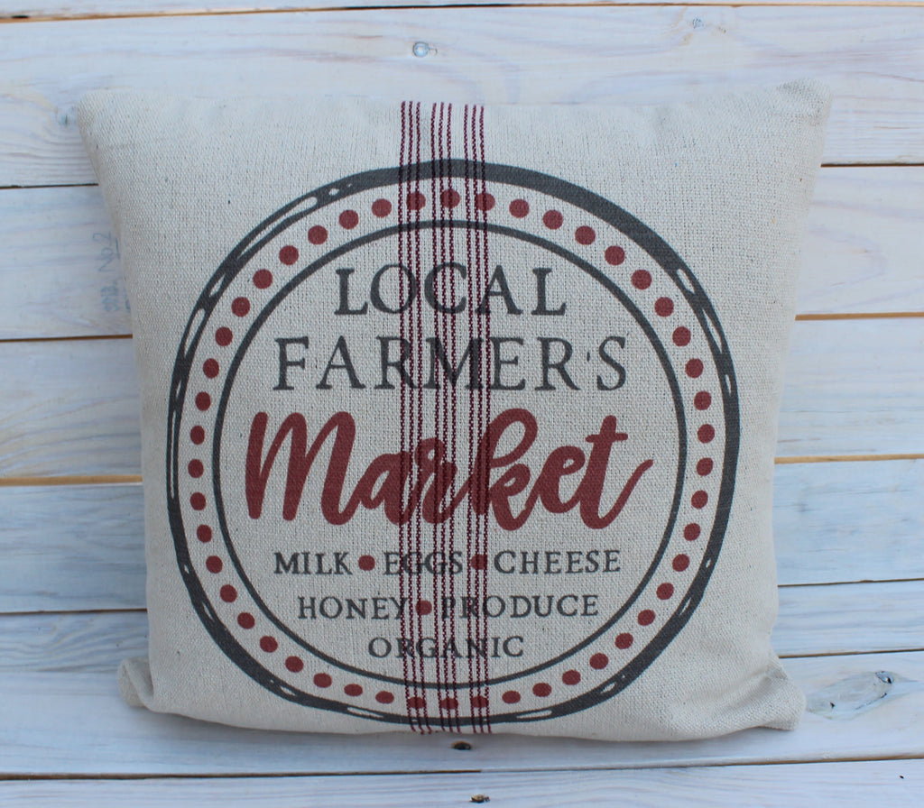 Local Farmer's Market's Pillow Red 16x16