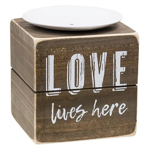 Love Lives Here Wooden Candle Block