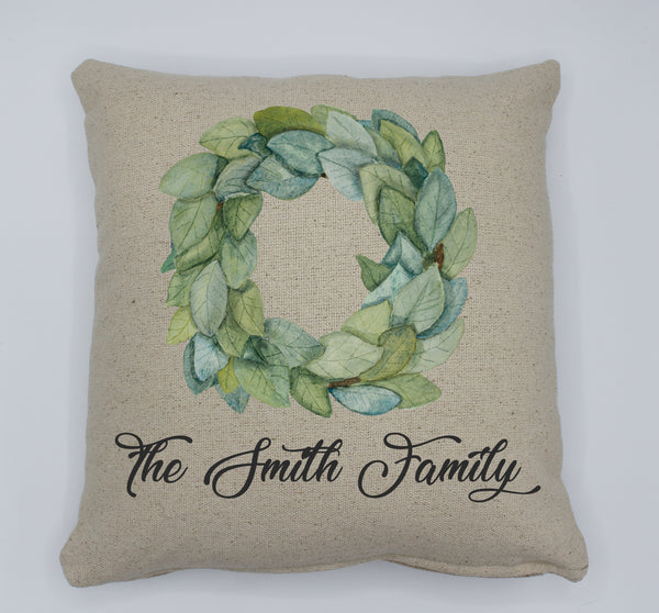 Magnolia Wreath Family Pillow