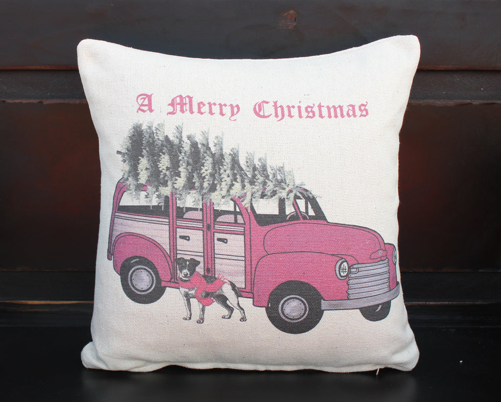 Wagon with Dog Christmas Pillow