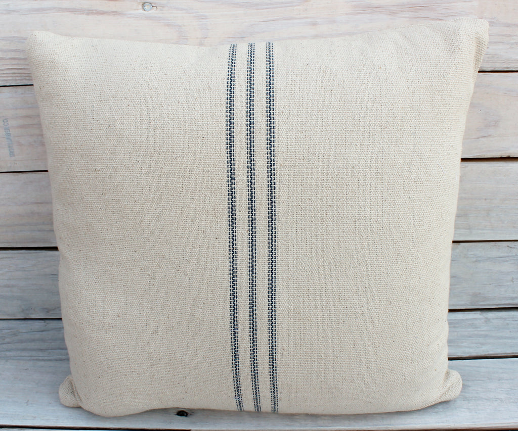 Navy 9 Stripe Feed Sack Pillow