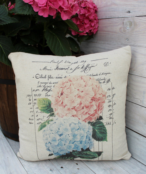 Pink and Blue Hydrangea 16x16 Pillow