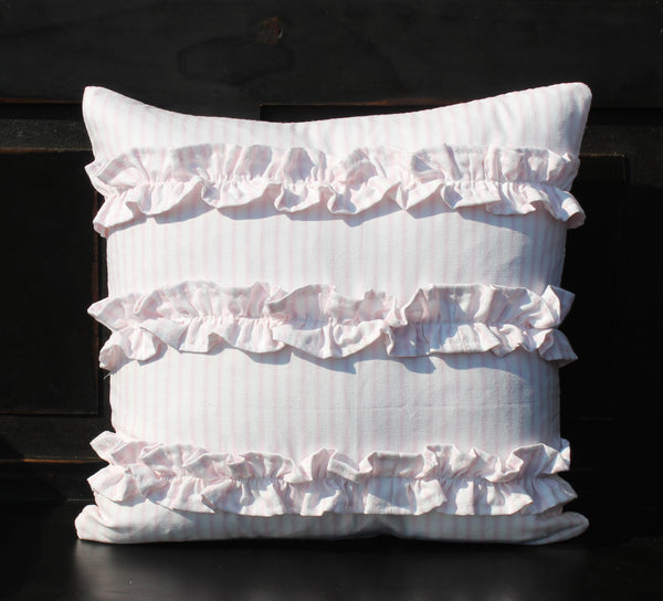 Ruffled Ticking Pillows