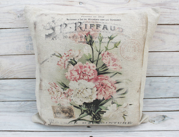 Pink and White Floral Post Pillow
