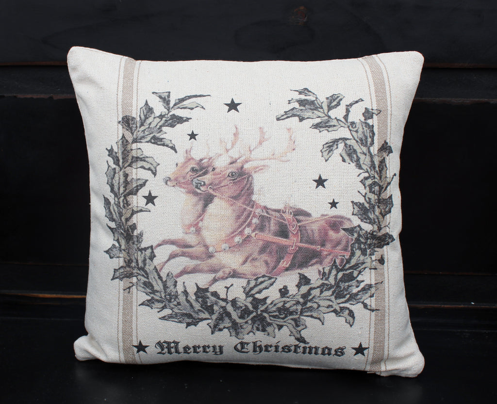 Reindeer in Wreath Pillow