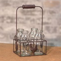 Wire Rooster Carrier with Bottles