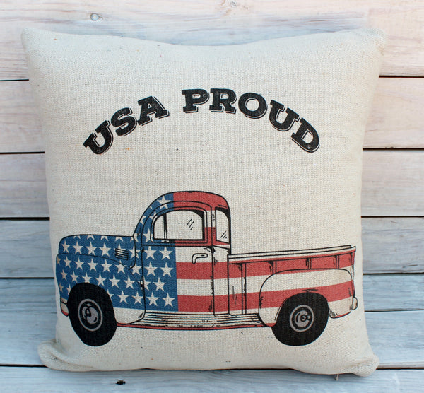 USA Proud Truck 16x16 Pillow