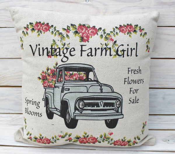 Vintage Farm Girl Flower Truck