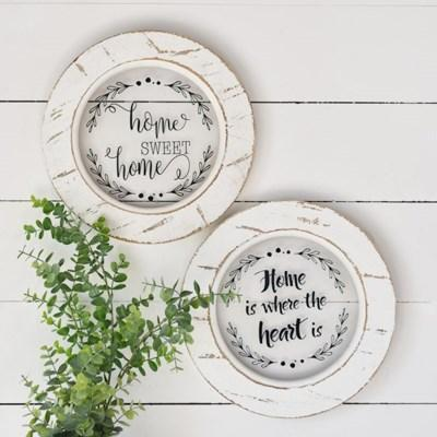 Round White Distressed Signs