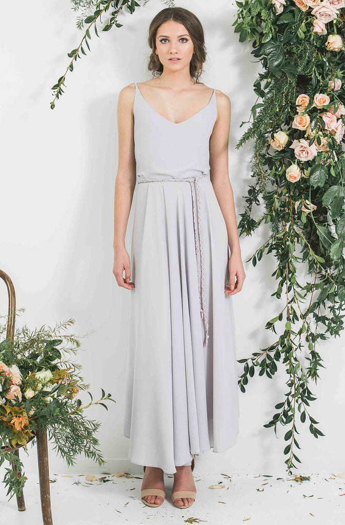 Quality Made in New Zealand Draped Blue Grey Victor Bridesmaid Blue Grey Bohemian Style Skirt with Matching top you will wear again