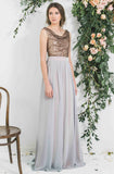Chiffon Skirt with Sequin Draped Top