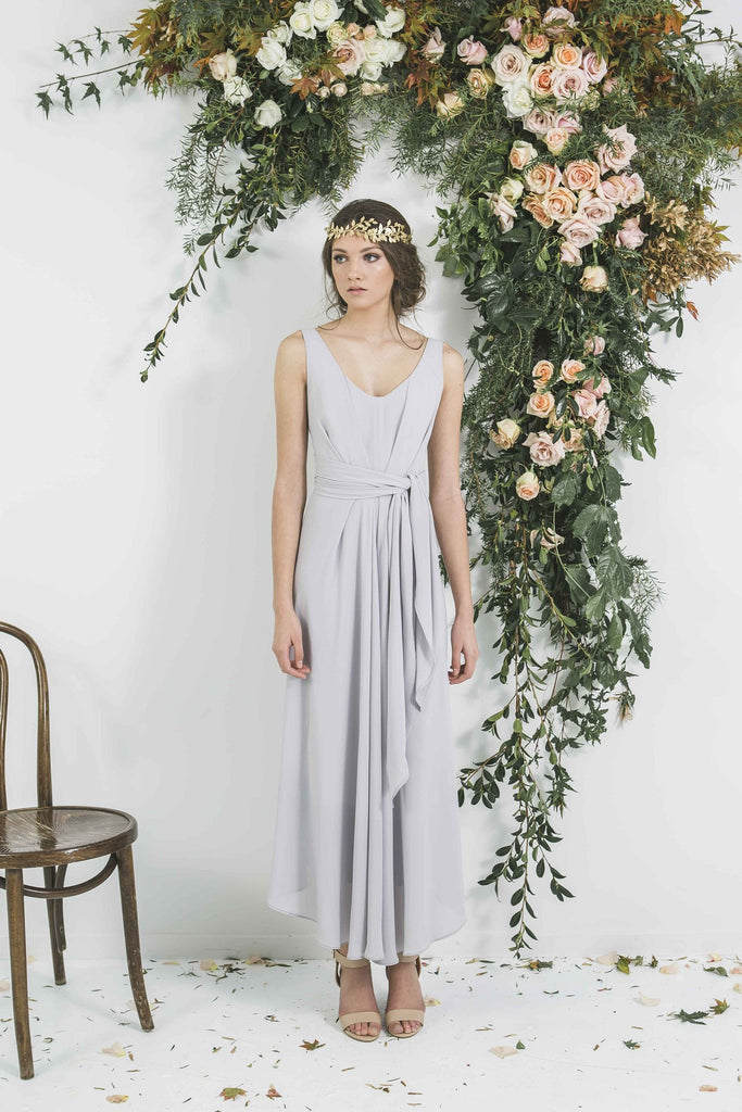 Grey Draped Midi Bridesmaid Gown you will Wear Again