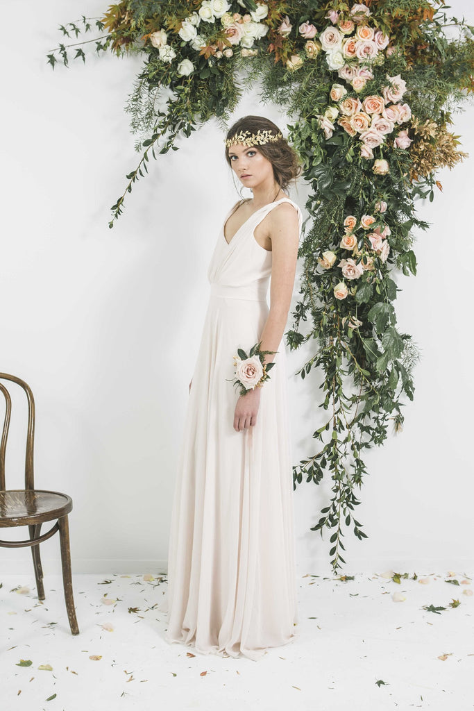ViCTOR Bridesmaid Long Dress with V-Neck and twisted shoulder detail you will wear again. Made in New Zealand