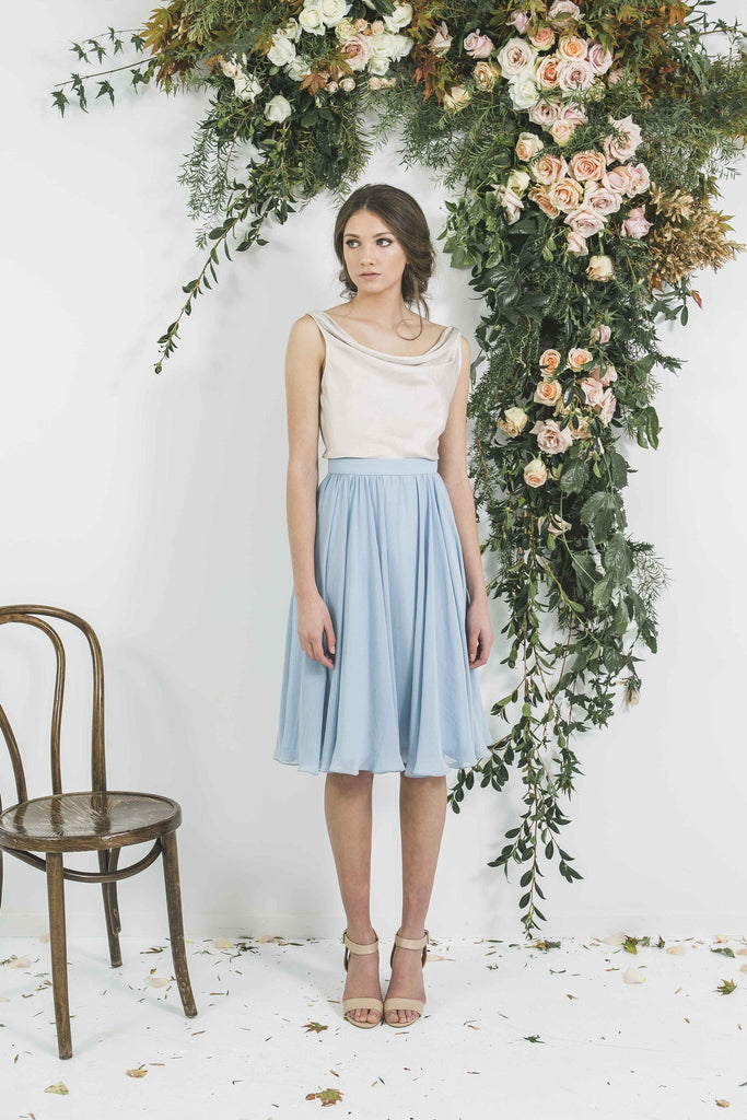 Quality Made in New Zealand Draped Matt Gold Victor Bridesmaid Top with Blue Gathered Skirt you will wear again