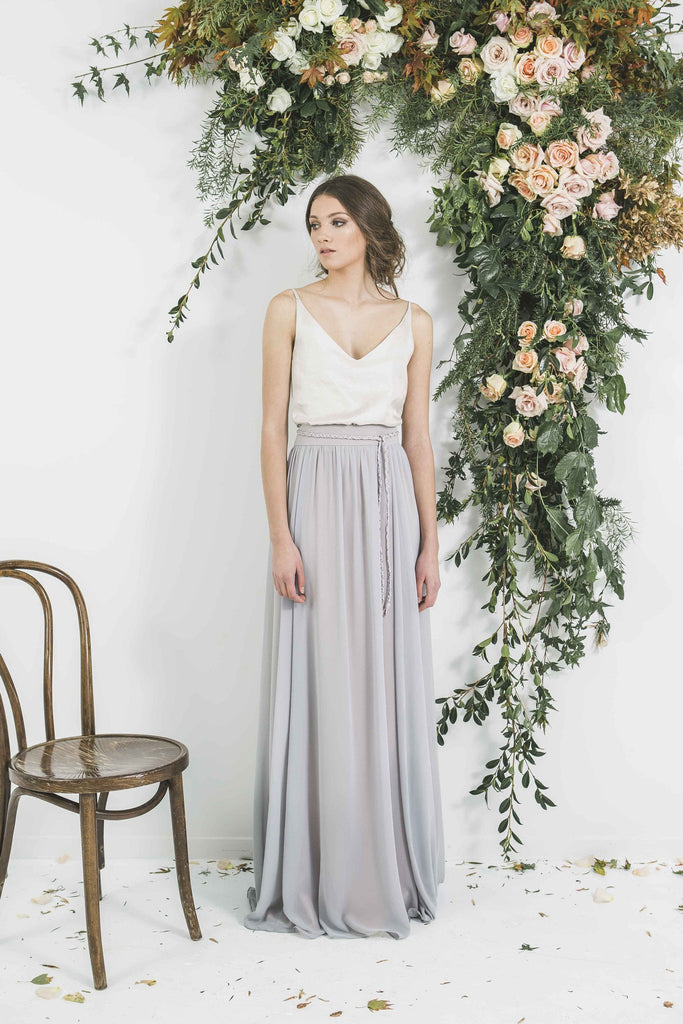 ESTHER Grey Dusk Bridesmaid Skirt Quality Bohemian Style Skirt with V-Neck Top you will wear again