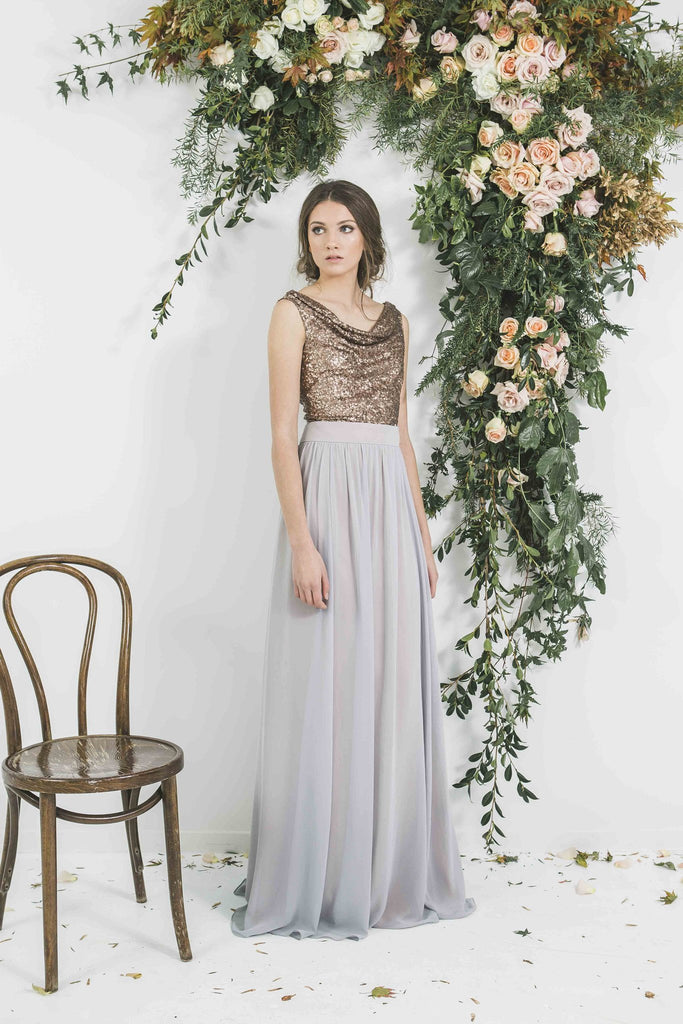 Quality Copper Sequin Victor Bridesmaid Drape Top