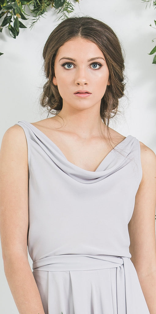 Quality Made in New Zealand Draped Blue Grey Victor Bridesmaid Top with Blue Grey Skirt you will wear again