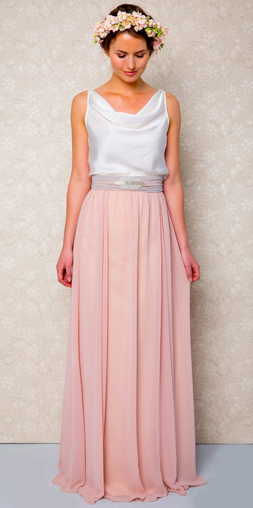 ESTHER Blush Pink Bridesmaid Skirt Quality Bohemian Style Skirt with Ivory Top you will wear again