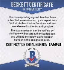 Beckett Authentication Certificate Example