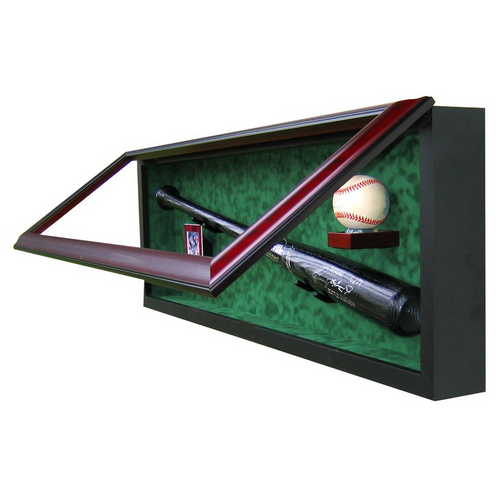 Baseball Bat, Ball and Card Custom Hand Crafted Wood Cabinet Display Case