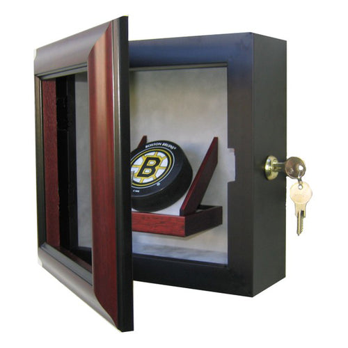 Hockey Puck Custom Hand Crafted Wood Cabinet Display Case